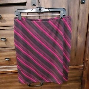 Express Cranberry and Black Striped Skirt